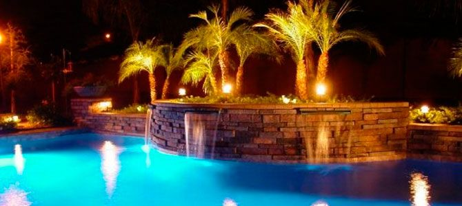 pool Crystal Beach landscape lighting